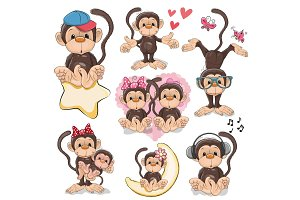 Set of Cute Cartoon Monkeys