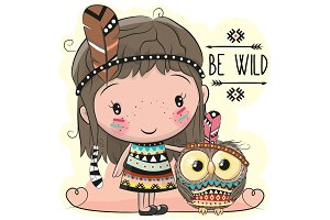 Cute Cartoon girl and owl