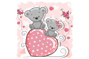 Two Bears is sitting on a heart