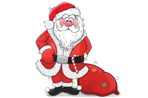 Cute Cartoon Santa Claus on a white background
