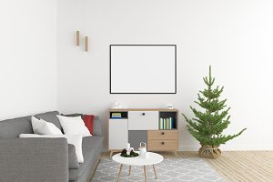Xmas interior - wall gallery mockup