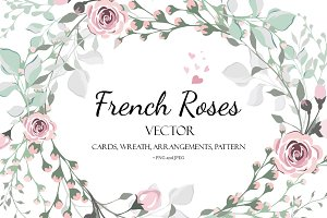 Vector design invitation French Rose