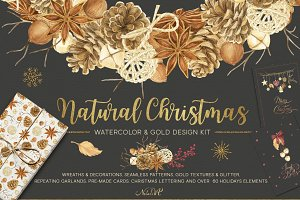 Natural Christmas. Watercolor & Gold
