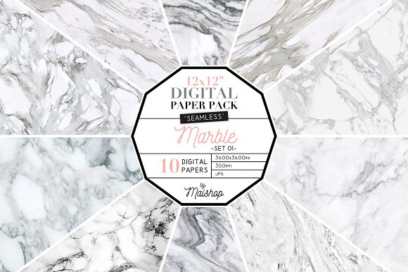 Marble Digital Paper Seamless in Patterns