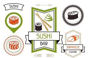 Badges set of various sushi.