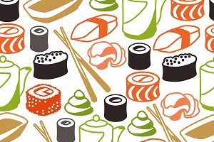 Seamless patterns with sushi.