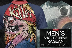 Men's Short Sleeve Raglan Mockups