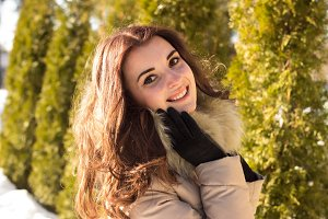Amazing cute woman in winter