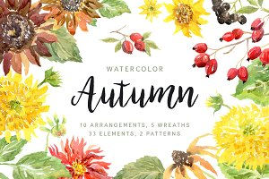 Autumn. Watercolor collection
