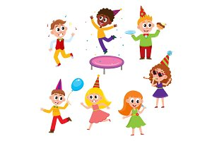vector flat cartoon kids at party set