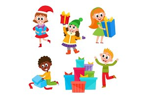 Kids, children getting Christmas birthday presents