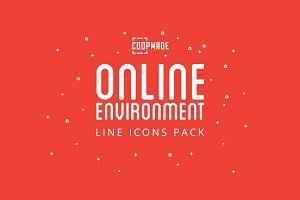 Online Enviroment Line Icon Pack