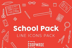 School Pack Line Icon Pack