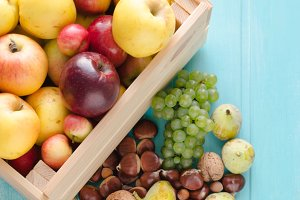 Fruits in wooden box
