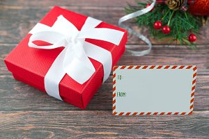Christmas gift and blank gift tag