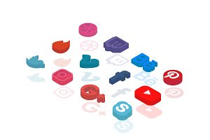 Social Media Isometric Icons