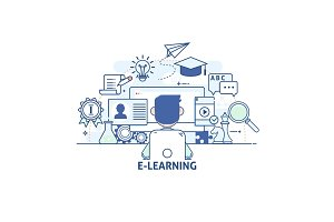 Concept of illustration - communications and technology, modern education and learning, research, tutorial. Modern thin linear stroke vector icons.