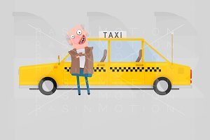 Driver in front of taxi