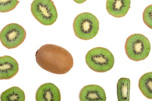 sliced kiwi fruit isolated on white background. Flat lay pattern. Top view