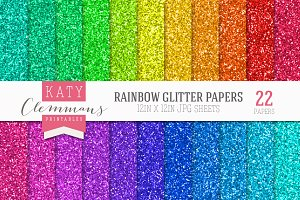 Rainbow Glitter Papers bumper pack