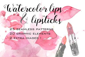 Watercolor lips and lipsticks set