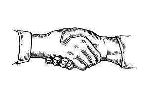 Handshake engraving vector illustration