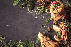 Christmas composition on a black background
