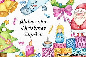 Watercolor Christmas clipart