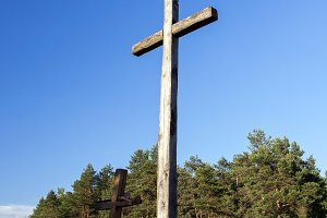 wooden crosses, religion