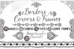 85 Hand drawn Frames Corners Borders