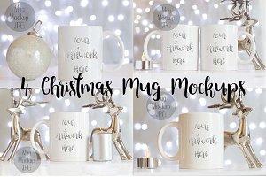 4 Christmas Mug Mockups