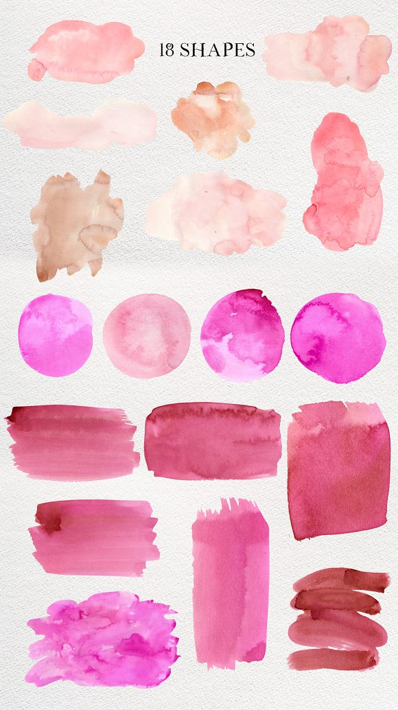 Pink Ink Watercolor Washes Splotches in Textures - product preview 3