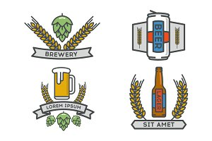 Vector linear icons of beer.