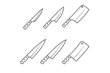 Set of six kitchen knives vector