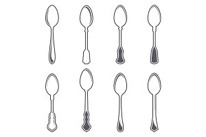 Set of eight tablespoons