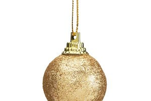 christmas ball gold isolated on white background