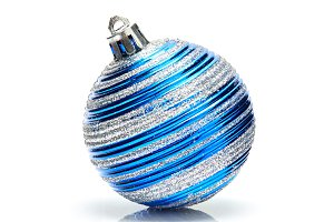 Blue christmas ball on white background