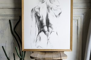 hand drawing sketch in frame