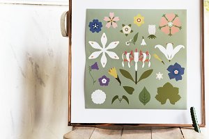 hand drawing of flowers in frame