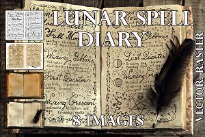 Magic diary with moon phases
