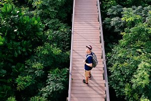 Aerial view of young man traveling and walking on the forest walkway trail - travel and recreation concept