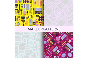 Vector flat style makeup and skincare monochrome patterns set