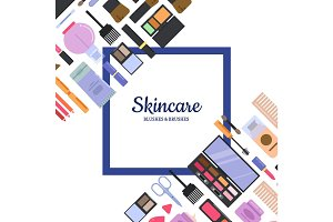 Vector background with frame style makeup and skincare for beauty industry