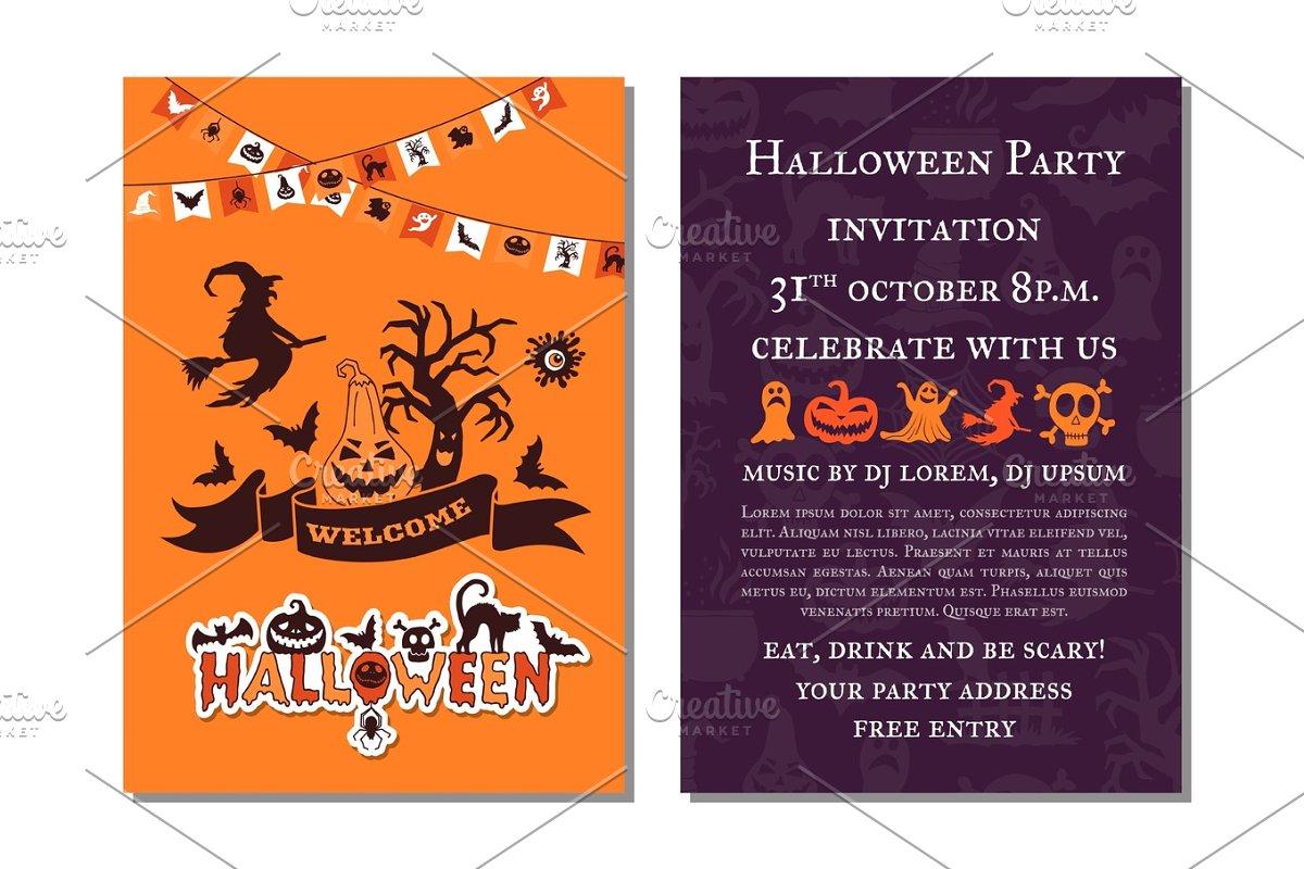 Vector Halloween Party Invitation Card Template