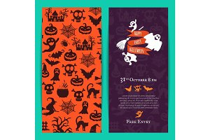 Vector halloween party thin invitation card template with creepy witches, pumpkins, ghosts