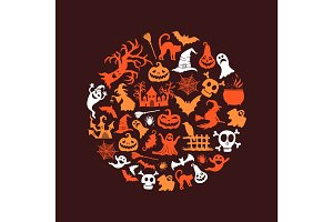 Vector halloween background with witches, pumpkins, ghosts