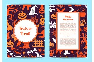 Vector halloween card or flyer templates with frames