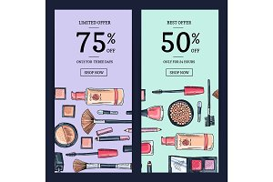 Vector sale banners for beauty shop with hand drawn makeup products