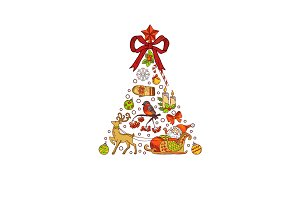 Vector hand drawn colored christmas tree, made of xmas elements with santa, gifts, bows and bells