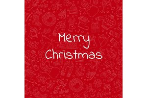 Vector hand drawn christmas red background illustration with place for text